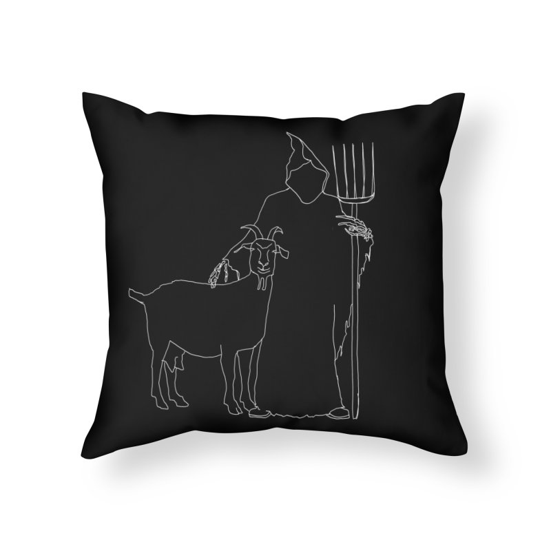 Grim the Farmer & Goat Enthusiast Home Throw Pillow by jackrabbithollow's Artist Shop
