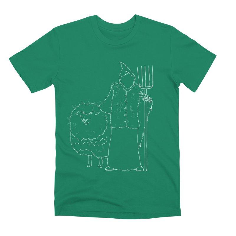 Grim the Farmer and Fiber Artist Men's Premium T-Shirt by jackrabbithollow's Artist Shop