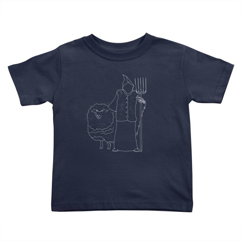 Grim the Farmer and Fiber Artist Kids Toddler T-Shirt by jackrabbithollow's Artist Shop