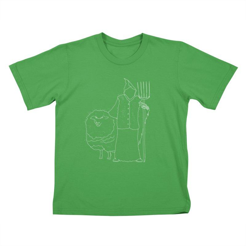 Grim the Farmer and Fiber Artist Kids T-Shirt by jackrabbithollow's Artist Shop