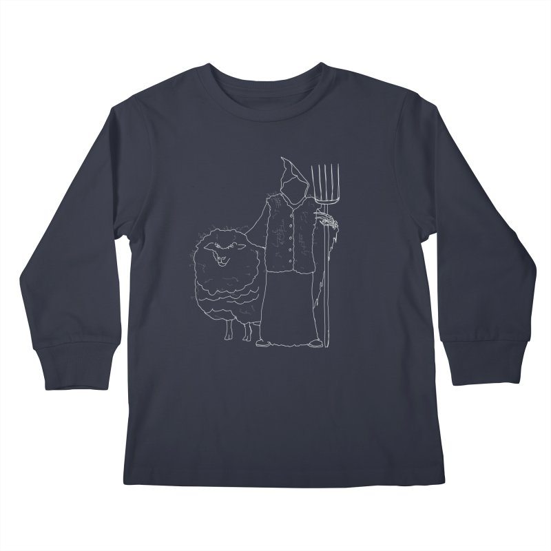 Grim the Farmer and Fiber Artist Kids Longsleeve T-Shirt by jackrabbithollow's Artist Shop