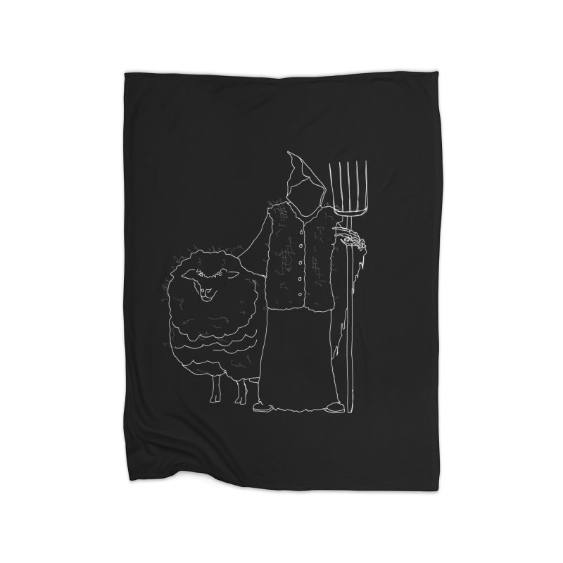 Grim the Farmer and Fiber Artist Home Fleece Blanket Blanket by jackrabbithollow's Artist Shop