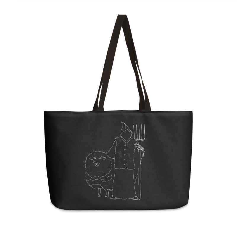 Grim the Farmer and Fiber Artist Accessories Weekender Bag Bag by jackrabbithollow's Artist Shop