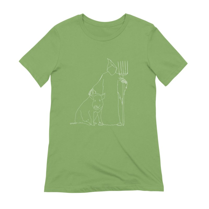 Grim the Farmer and Pig Parent Women's Extra Soft T-Shirt by jackrabbithollow's Artist Shop