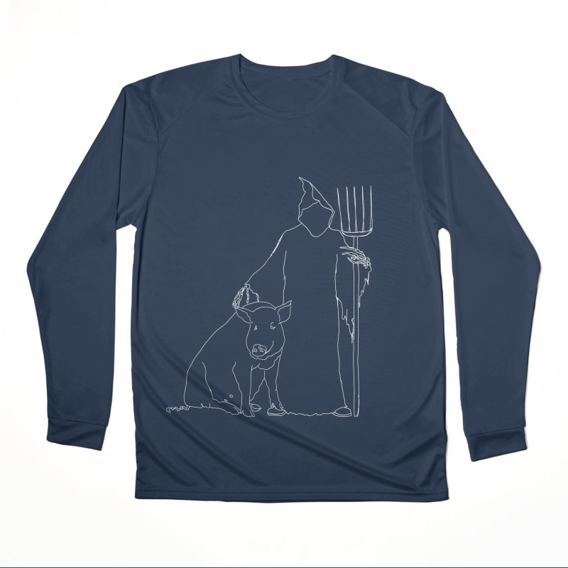 Grim the Farmer and Pig Parent Women's Performance Unisex Longsleeve T-Shirt by jackrabbithollow's Artist Shop