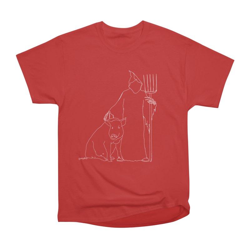 Grim the Farmer and Pig Parent Men's Heavyweight T-Shirt by jackrabbithollow's Artist Shop