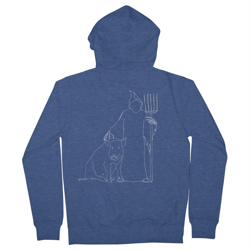 Grim the Farmer and Pig Parent Women's French Terry Zip-Up Hoody by jackrabbithollow's Artist Shop