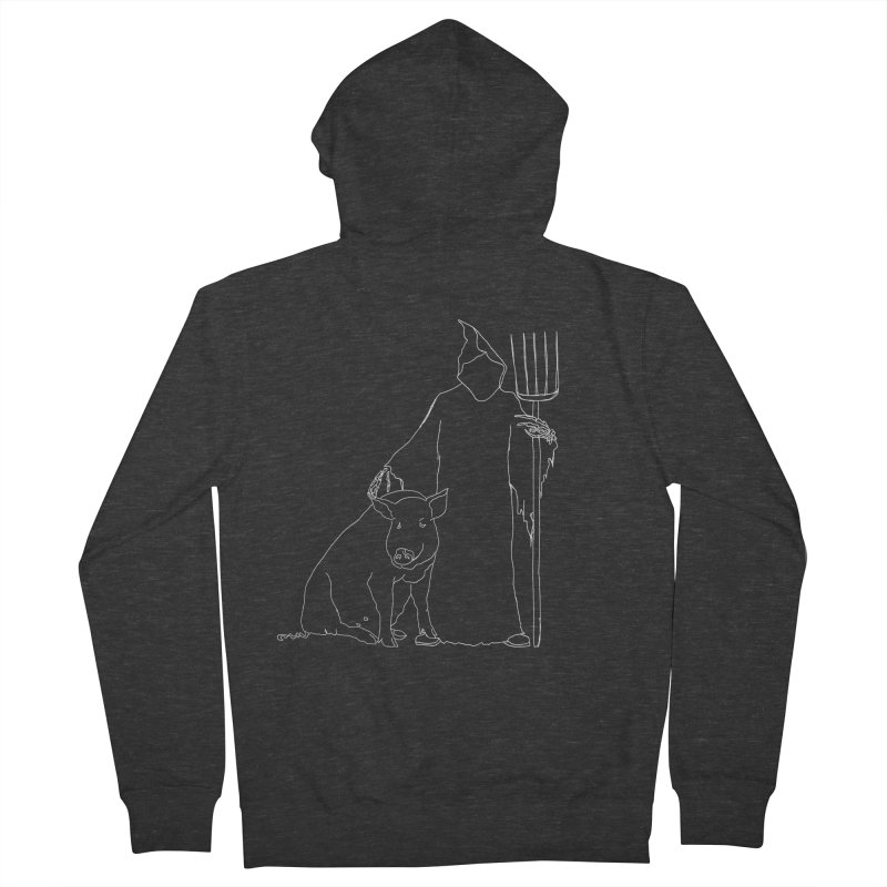 Grim the Farmer and Pig Parent Men's French Terry Zip-Up Hoody by jackrabbithollow's Artist Shop
