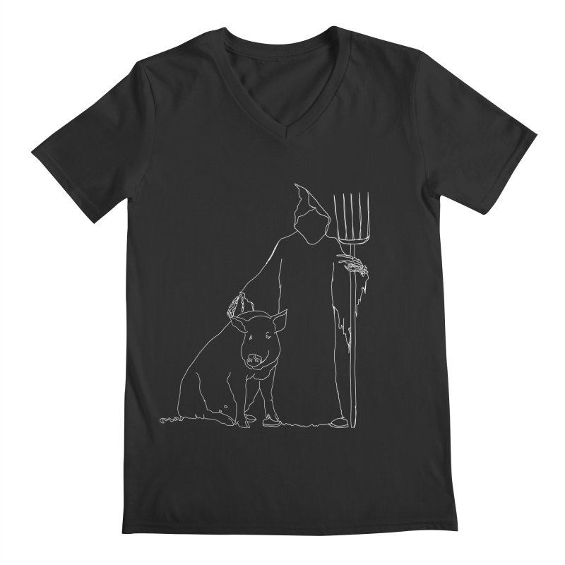 Grim the Farmer and Pig Parent Men's Regular V-Neck by jackrabbithollow's Artist Shop