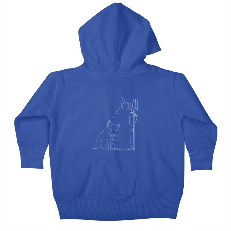 Grim the Farmer and Pig Parent Kids Baby Zip-Up Hoody by jackrabbithollow's Artist Shop
