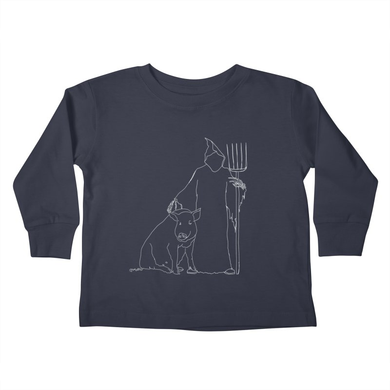 Grim the Farmer and Pig Parent Kids Toddler Longsleeve T-Shirt by jackrabbithollow's Artist Shop