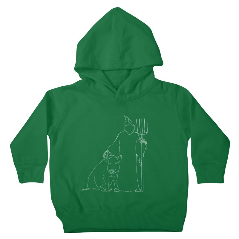 Grim the Farmer and Pig Parent Kids Toddler Pullover Hoody by jackrabbithollow's Artist Shop