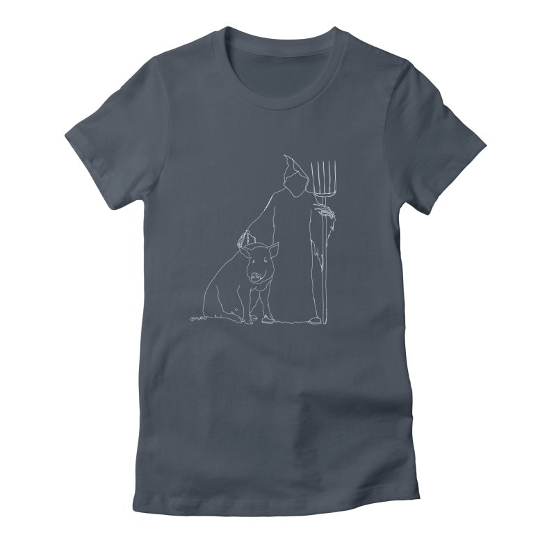Grim the Farmer and Pig Parent Women's Fitted T-Shirt by jackrabbithollow's Artist Shop