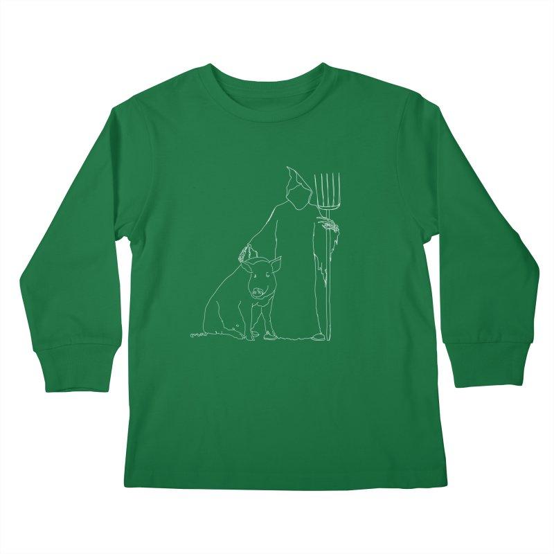 Grim the Farmer and Pig Parent Kids Longsleeve T-Shirt by jackrabbithollow's Artist Shop