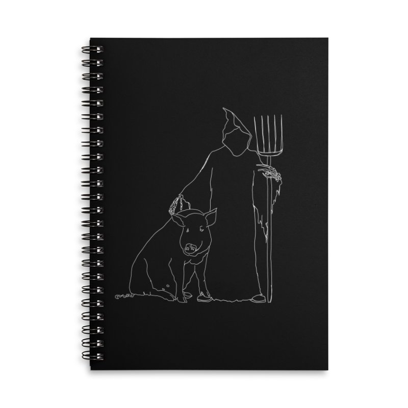 Grim the Farmer and Pig Parent Accessories Lined Spiral Notebook by jackrabbithollow's Artist Shop