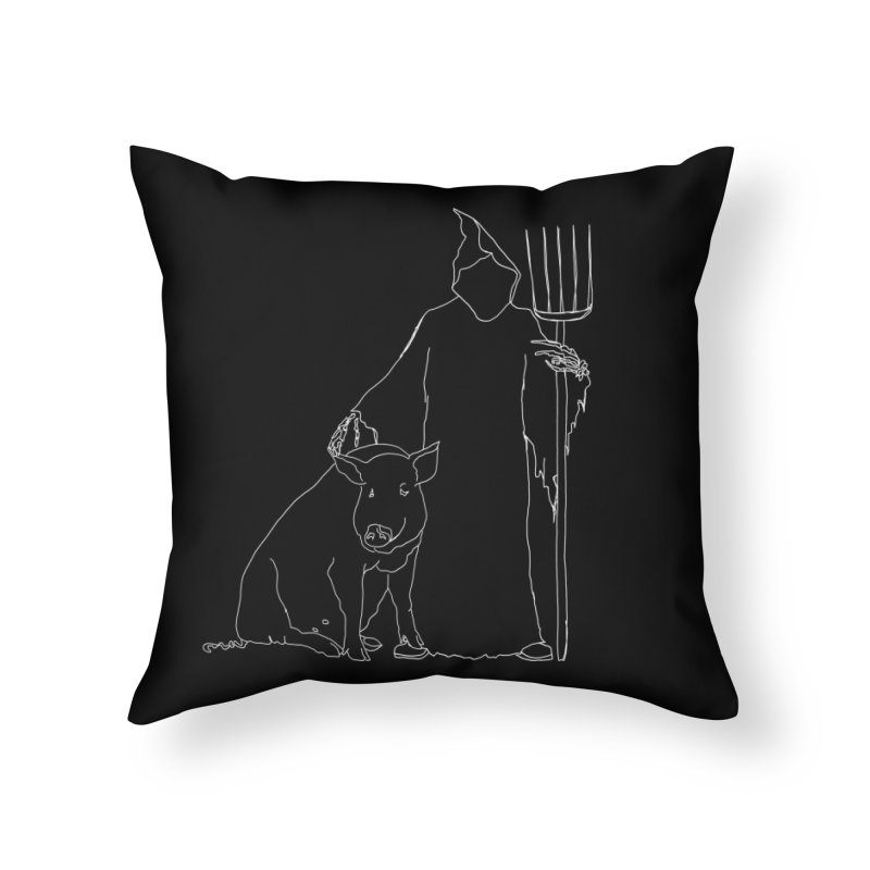 Grim the Farmer and Pig Parent Home Throw Pillow by jackrabbithollow's Artist Shop