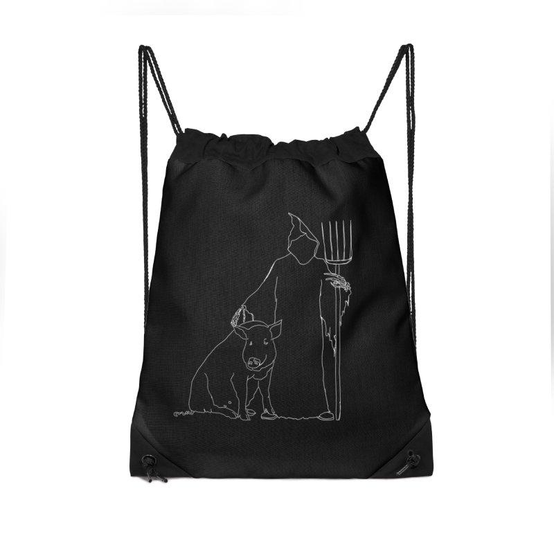 Grim the Farmer and Pig Parent Accessories Drawstring Bag Bag by jackrabbithollow's Artist Shop