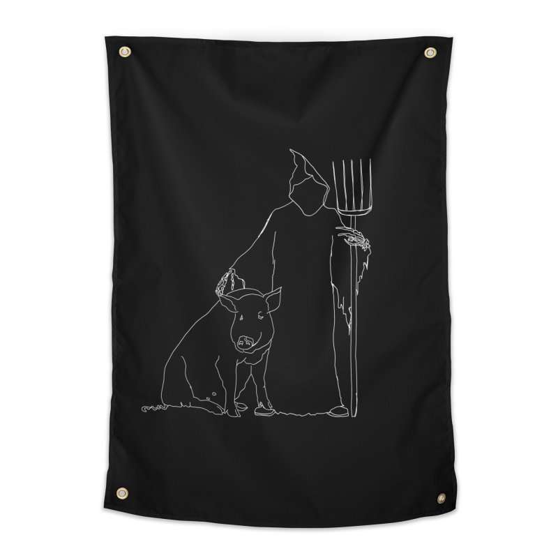 Grim the Farmer and Pig Parent Home Tapestry by jackrabbithollow's Artist Shop