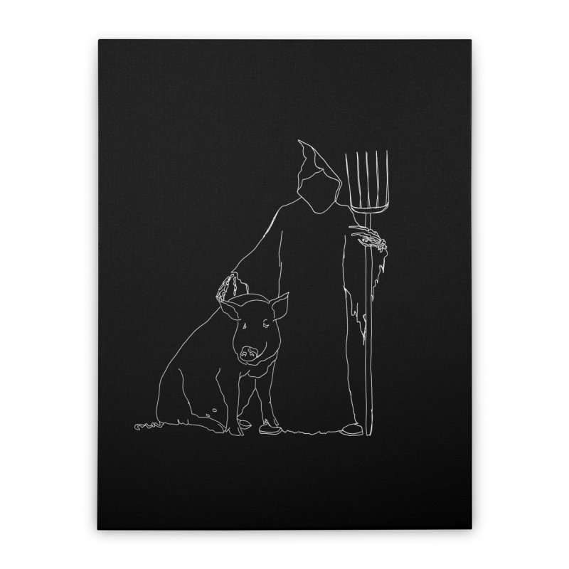 Grim the Farmer and Pig Parent Home Stretched Canvas by jackrabbithollow's Artist Shop