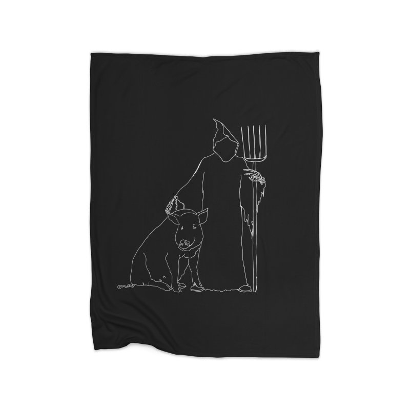 Grim the Farmer and Pig Parent Home Fleece Blanket Blanket by jackrabbithollow's Artist Shop
