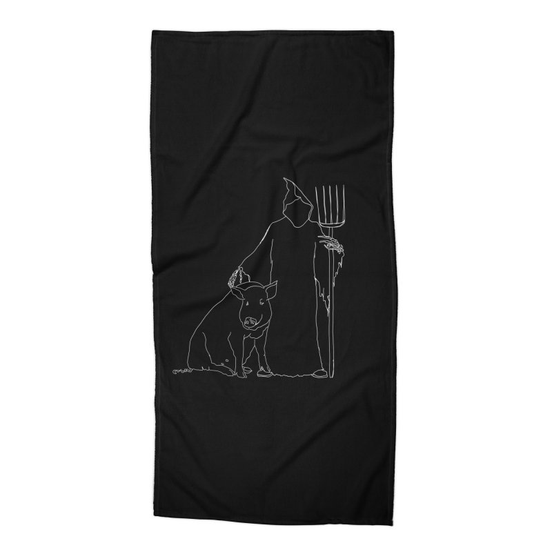 Grim the Farmer and Pig Parent Accessories Beach Towel by jackrabbithollow's Artist Shop