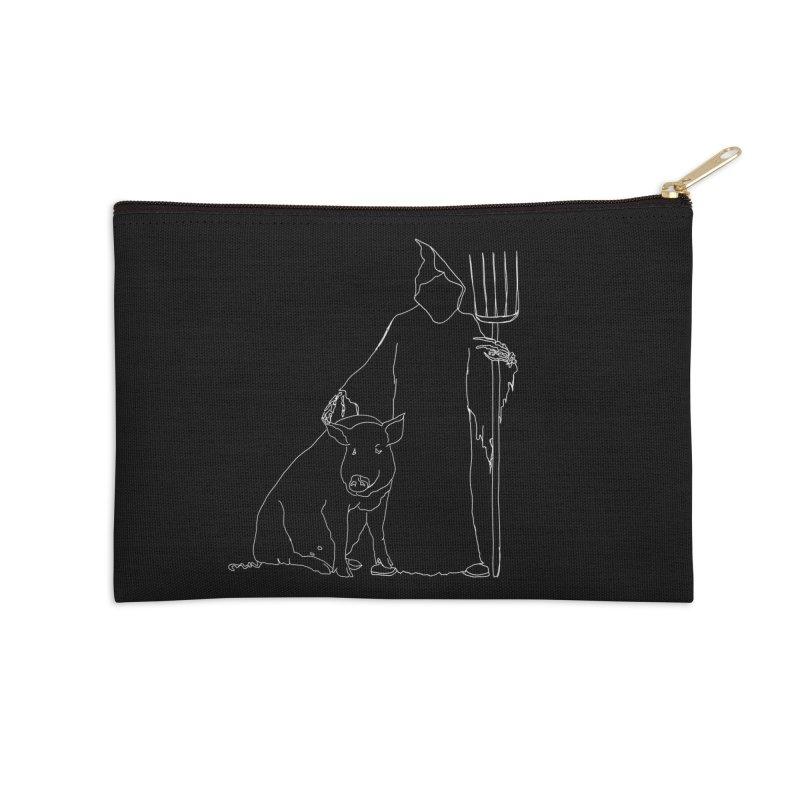 Grim the Farmer and Pig Parent Accessories Zip Pouch by jackrabbithollow's Artist Shop