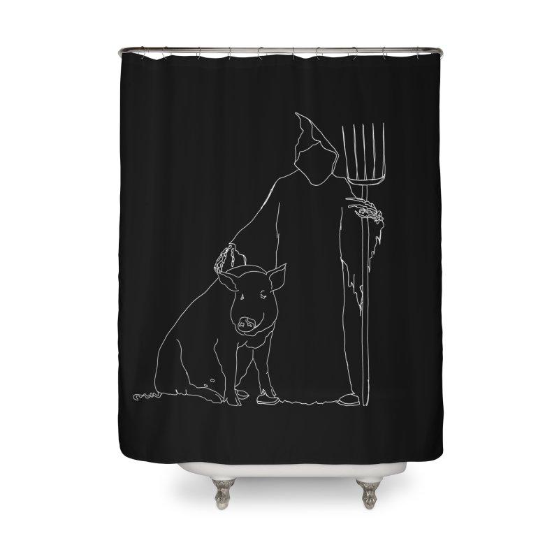Grim the Farmer and Pig Parent Home Shower Curtain by jackrabbithollow's Artist Shop