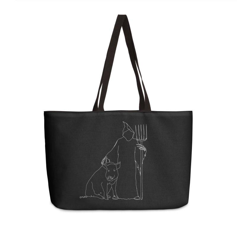 Grim the Farmer and Pig Parent Accessories Weekender Bag Bag by jackrabbithollow's Artist Shop