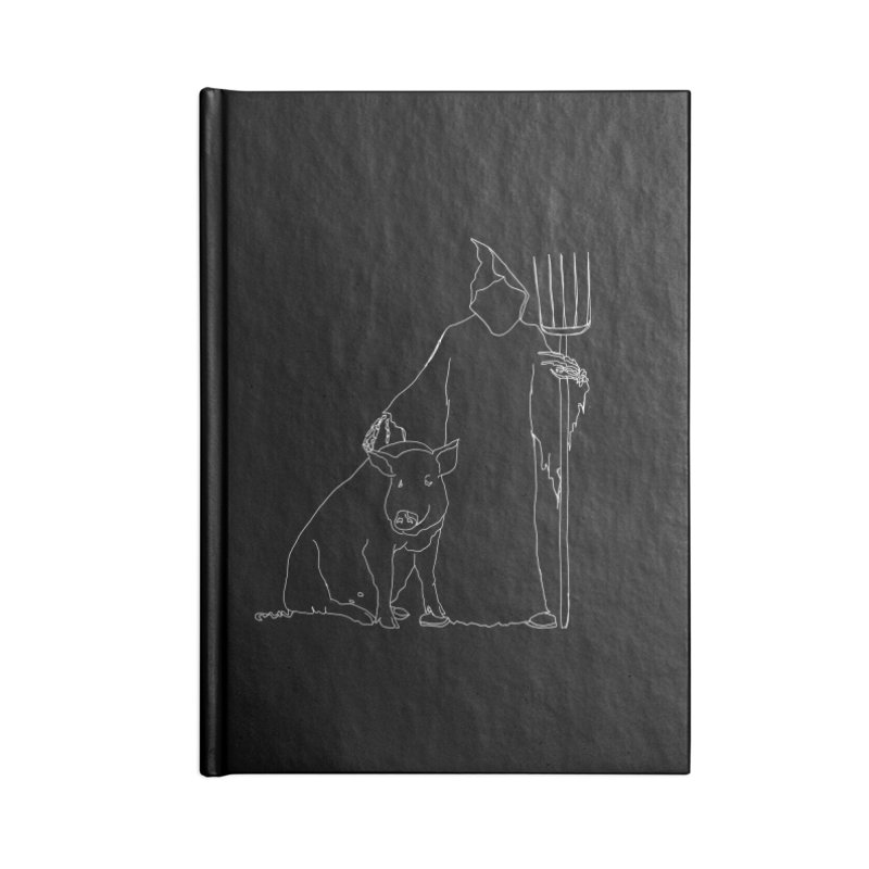 Grim the Farmer and Pig Parent Accessories Blank Journal Notebook by jackrabbithollow's Artist Shop