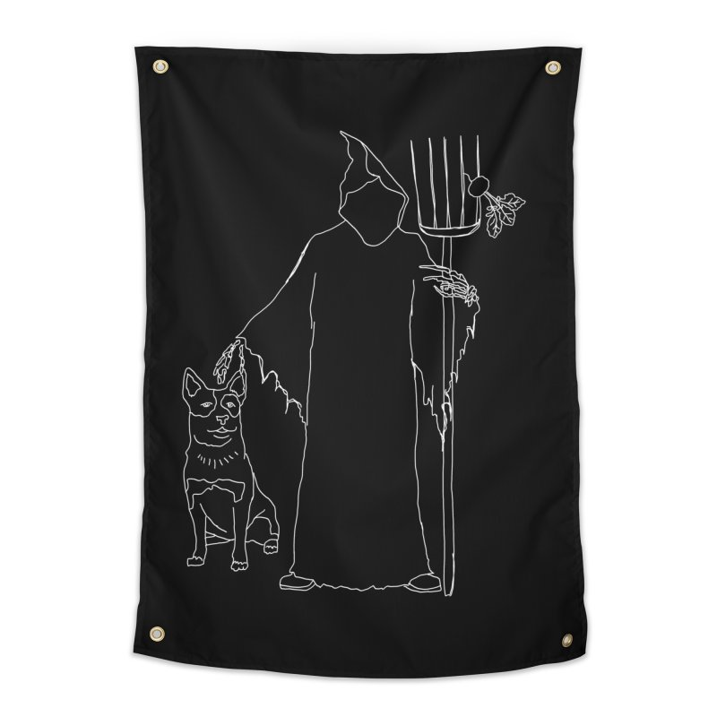 Grim the Farmer and Bestie Home Tapestry by jackrabbithollow's Artist Shop