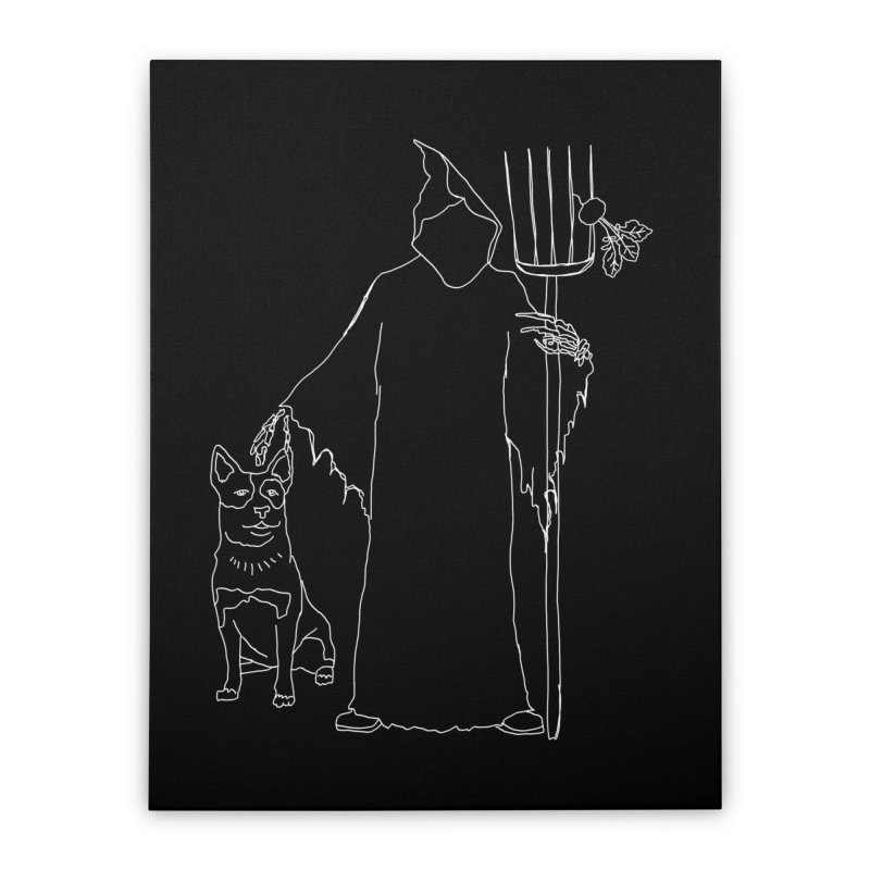 Grim the Farmer and Bestie Home Stretched Canvas by jackrabbithollow's Artist Shop