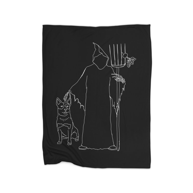 Grim the Farmer and Bestie Home Fleece Blanket Blanket by jackrabbithollow's Artist Shop