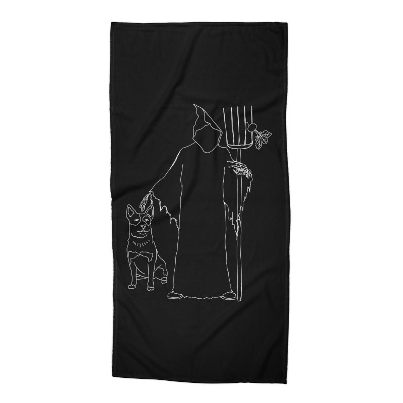 Grim the Farmer and Bestie Accessories Beach Towel by jackrabbithollow's Artist Shop