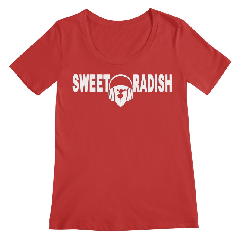 Sweet Radish Headphones Logo Women's Regular Scoop Neck by jackrabbithollow's Artist Shop