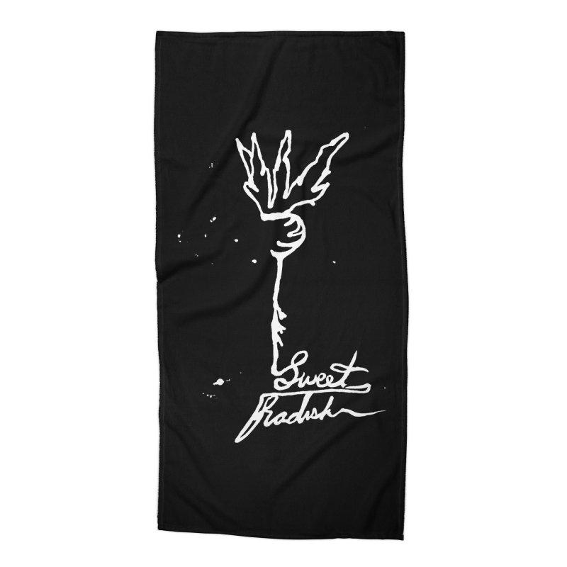 Single Line Sweet Radish Accessories Beach Towel by jackrabbithollow's Artist Shop