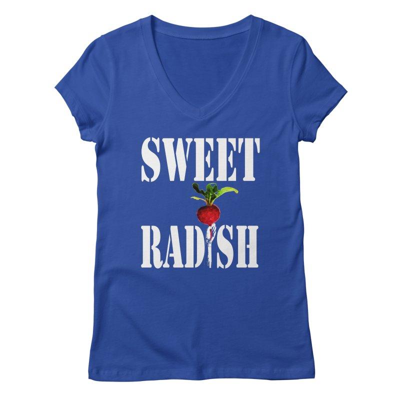 Sweet Radish Stencil Women's Regular V-Neck by jackrabbithollow's Artist Shop