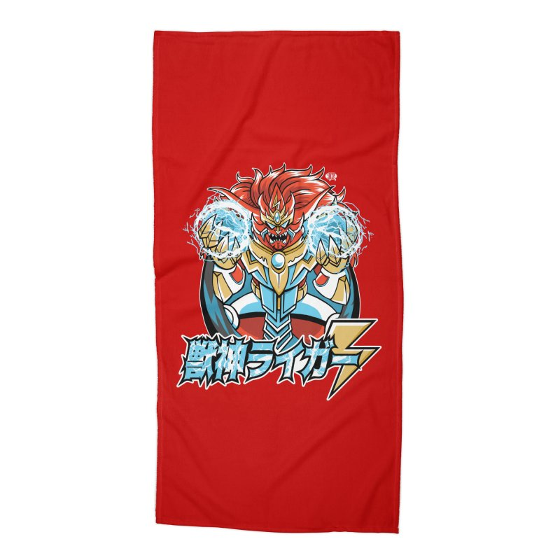 Beast King of Thunder - Stop AAPI Hate Charity Design Accessories Beach Towel by JCP Designs - Original Designs by Jacob C. Paul