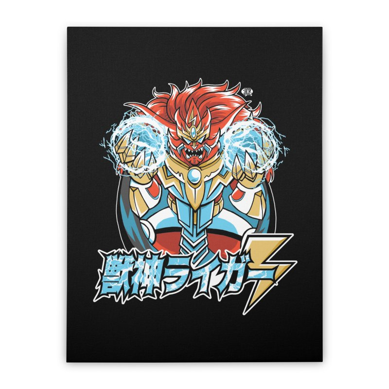 Beast King of Thunder, Black Version - Stop AAPI Hate Charity Design Home Stretched Canvas by JCP Designs - Original Designs by Jacob C. Paul