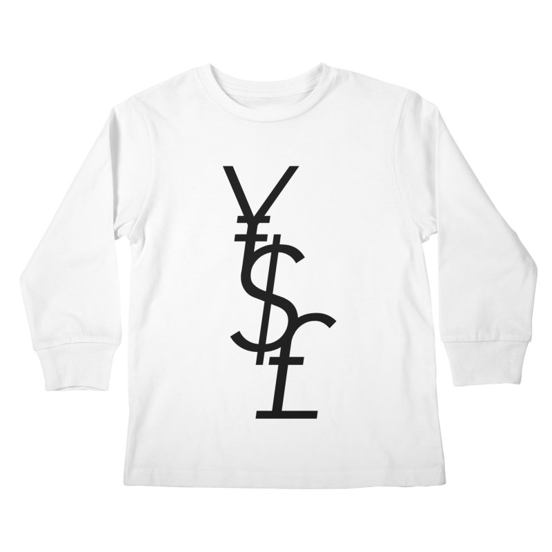 Yen Dollar Pound Kids Longsleeve T-Shirt by Haasbroek's Artist Shop