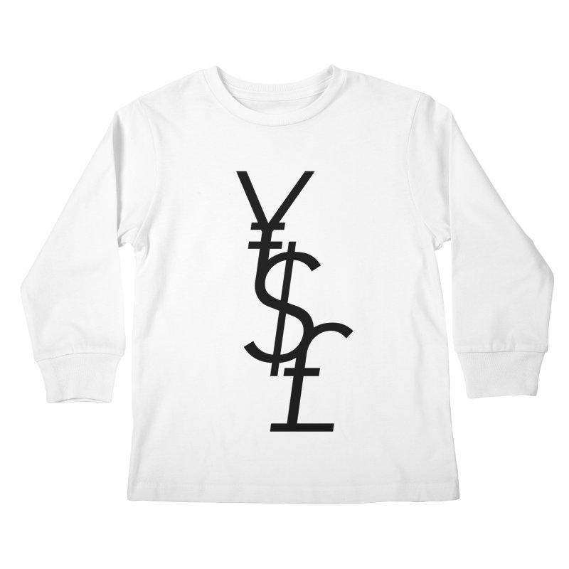 Yen Dollar Pound Kids Longsleeve T-Shirt by Haasbroek's Artist Shop