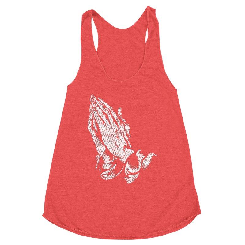 Just Pray Distressed T-Shirt / White Logo Women's Tank by JADED ETERNAL