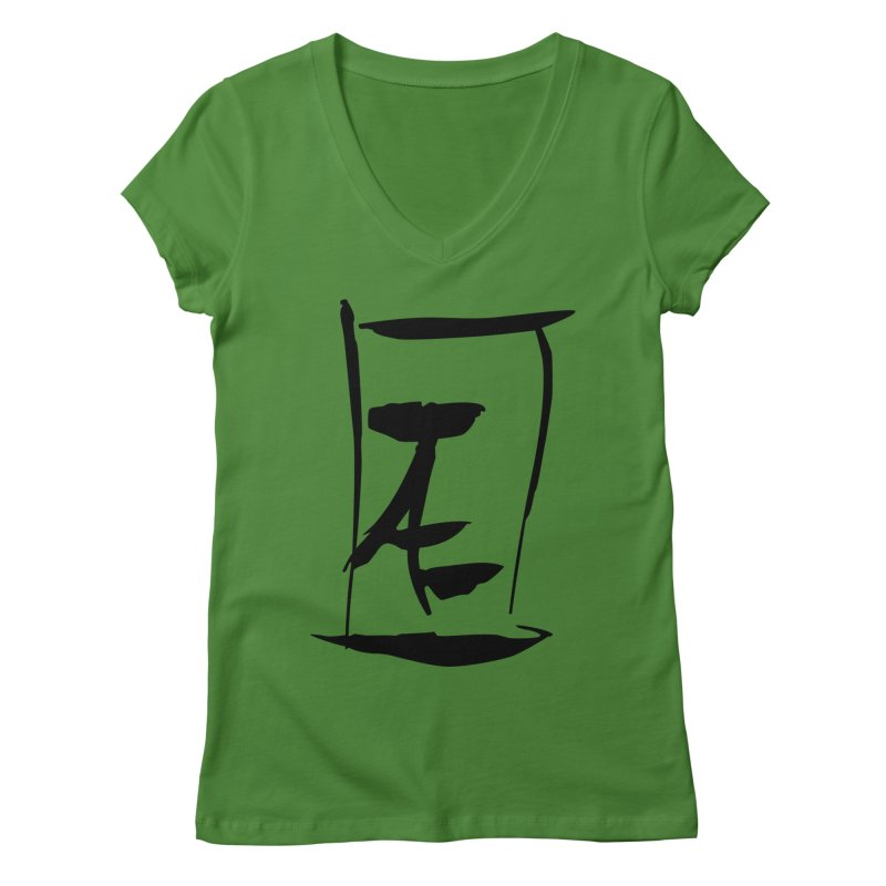 Jae Kanji Logo (Bk) Women's Regular V-Neck by Jae Pereira's Shop