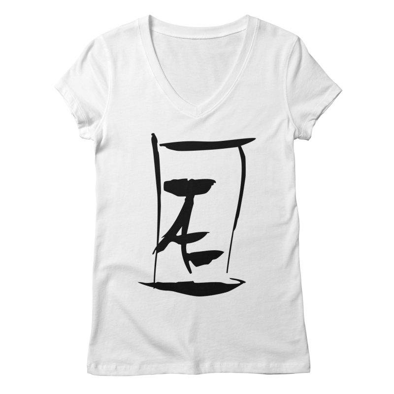 Jae Kanji Logo (Bk) Women's V-Neck by Jae Pereira's Shop