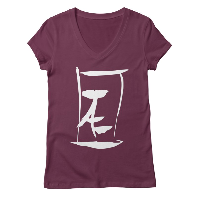 Jae Kanji Logo (W) Women's Regular V-Neck by Jae Pereira's Shop