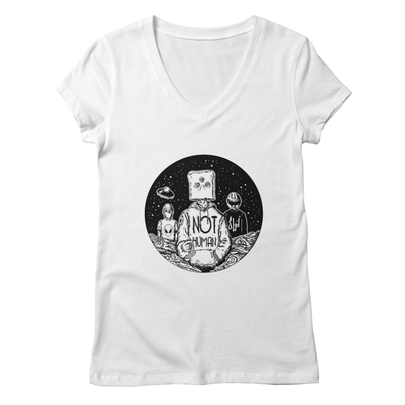 NOY HUMAN Women's V-Neck by jailbreakarts's Artist Shop