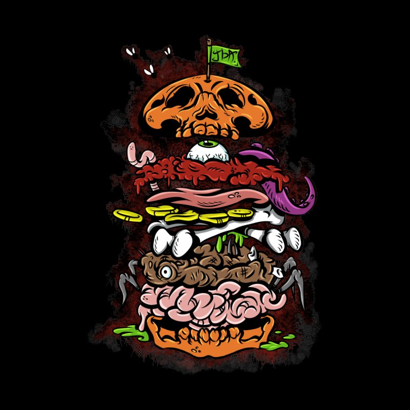 Horror Burger Men's Baseball Triblend T-Shirt by JailbreakArts's Artist Shop