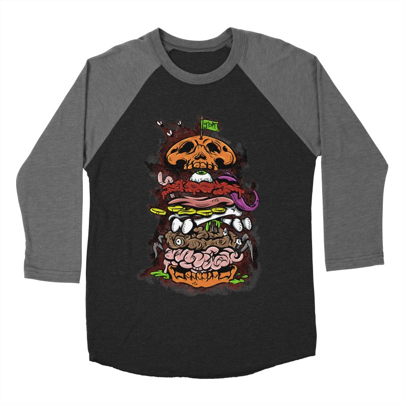 Horror Burger in Men's Baseball Triblend T-Shirt Grey Triblend Sleeves by JailbreakArts's Artist Shop
