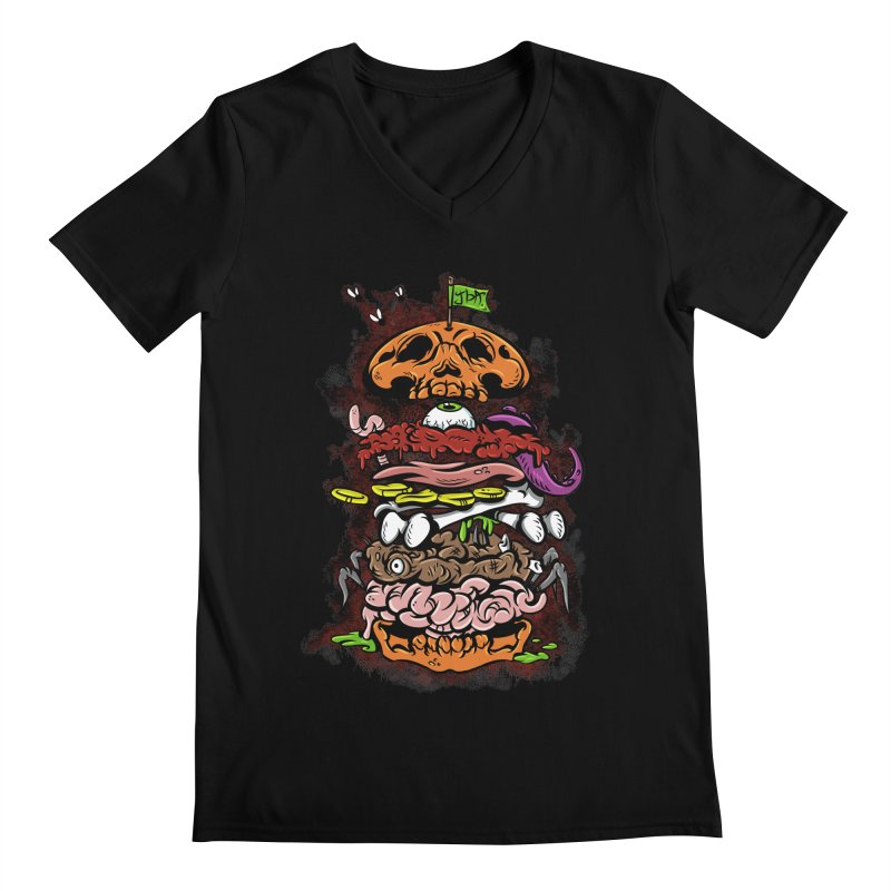 Horror Burger Men's V-Neck by JailbreakArts's Artist Shop