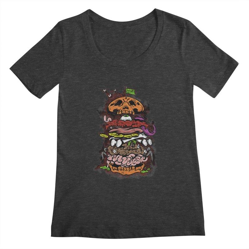 Horror Burger Women's Scoopneck by JailbreakArts's Artist Shop