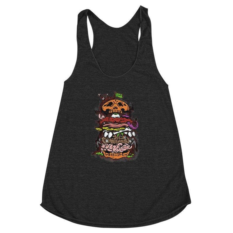 Horror Burger Women's Racerback Triblend Tank by JailbreakArts's Artist Shop